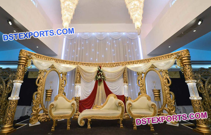 Asian Muslim Wedding Crystal Stage Decorations