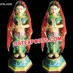 Fiber Namaste Lady Welcome Lady Statue
