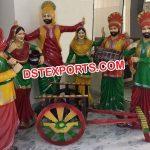 Fiber Punjabi Theem Bhangra Statues For Hotel