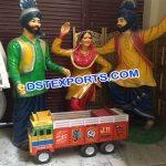Fiber Statues In Punjabi Bhangra Dance Style