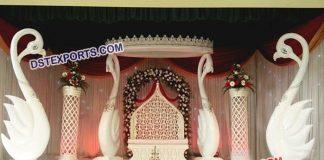 Fiber Swan Pillar Wedding Stage Decoration 9474