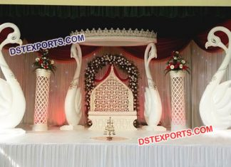 Fiber Swan Pillar Wedding Stage Decoration 9474