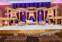 Golden Muslim Wedding Reception Stage
