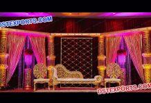 Indian Wedding Golden Crystal Stage Decor