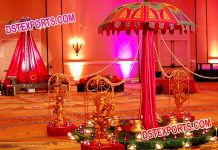 Wedding Decoration Umbrella with small Ganesha Statues