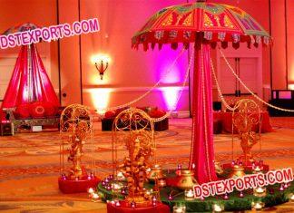 Wedding Decoration Umbrella with small Ganesha Statues