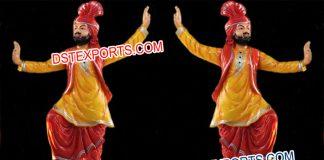 Punjabi Dancing Bhangra Fiber Statue