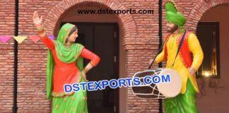 Punjabi Dhol Wala With Gidha Lady Statue