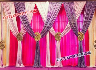 Wedding Backdrop Curtains With Hanging Paisleys