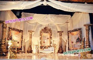 Backdrop frames with pillars for stage decoration mandap exporters dst exports is leading and best manufacturer of backdrop fiber panels indian wedding stage decoration frames wedding stages wedding mandaps junglespirit