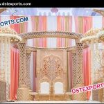 gold crystal wedding mandap