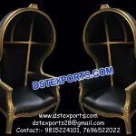 English Wedding Bride Groom Chairs With Hood PL9652