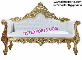 Asian Muslim Wedding Gold Sofa Love Seat