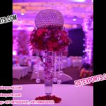 Flower Decorated Crystal Table Center Pieces