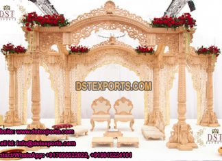 Wooden Carved Indian Wedding Swan Mandap