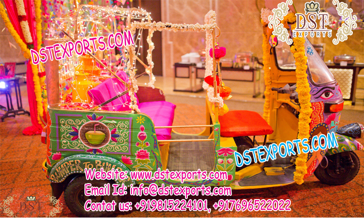 Decorative Open Auto Rickshaw for Bride Groom Entry \u2013 Mandap