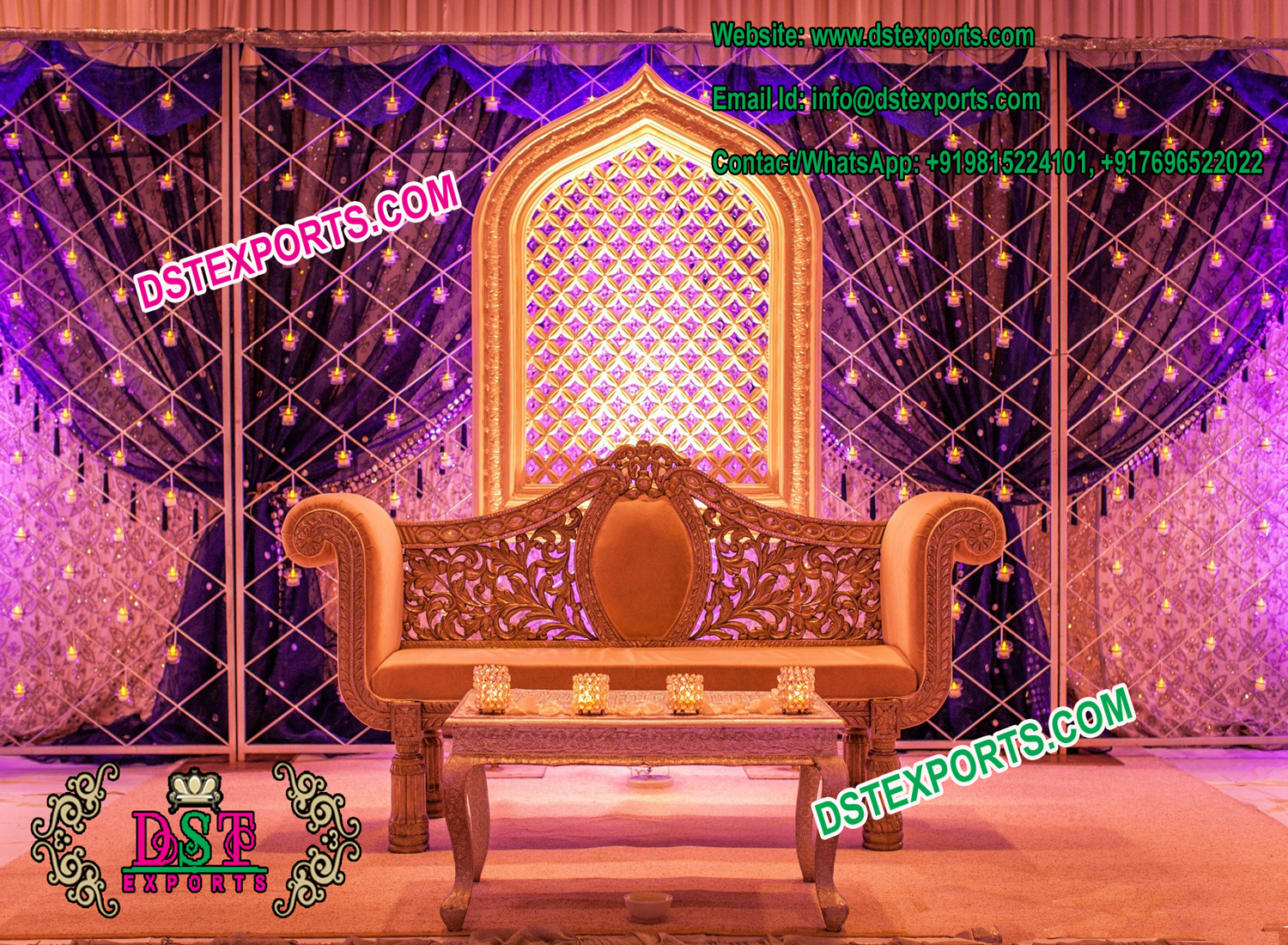 Asian Wedding Stage Candle Back wall Frame – Mandap Exporters