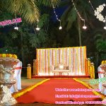 Haldi Ceremony Stage Decoration With Flower Pots