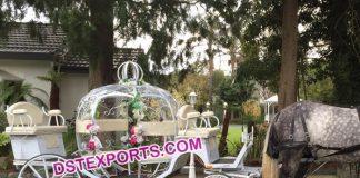 White Cinderella Horse Carriage For Wedding