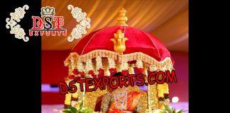 Golden Carving Wedding Doli with Umbrella