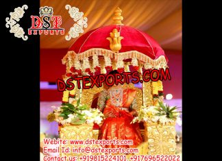 Golden Carving Wedding Doli with Umbrella