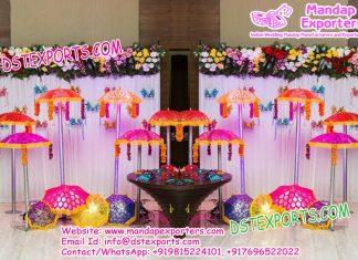 Asian Wedding Mehandi Stage Decoration Umbrellas