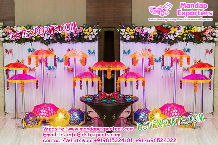 Asian wedding mehandi stage decoration umbrellas mandap exporters asian wedding mehandi stage decoration umbrellas junglespirit Image collections