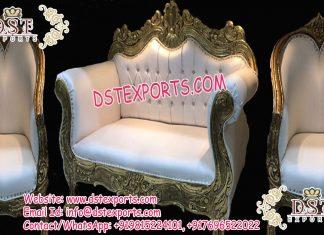 Latest Designed Wooden Metal Carved Wedding Sofa Set