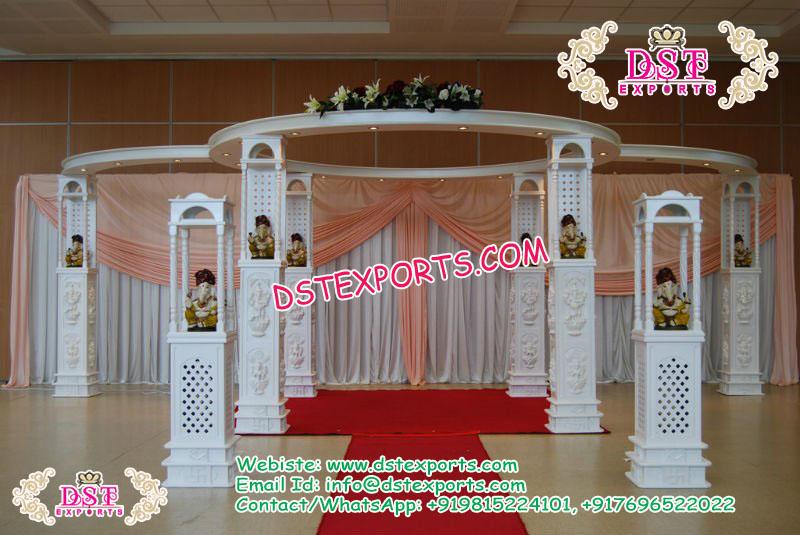 Lord Ganesha Pillar Fiber Carved Wedding Mandap