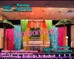 Muslim Wedding Mehandi Stage Decoration With Umbrellas