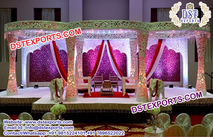 New Trending Wedding Delizio Fiber Carved Mandap