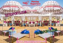Punjabi Wedding Mehandi Stage Decoration With Umbrellas
