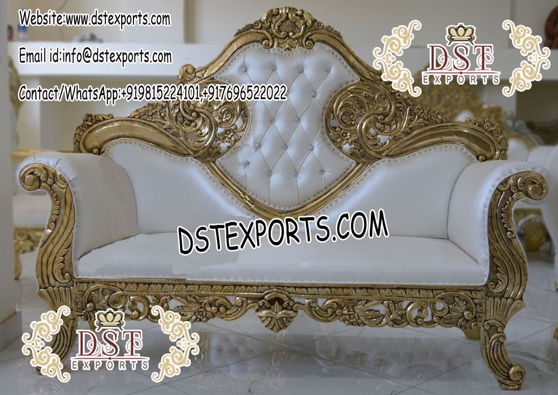 Asian Wedding Stage Gold Carved Sofa