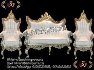 Indian Wedding Wooden Metal Carved Sofa Set
