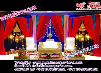 Arabic Mehndi Stage With Moroccan Lamps