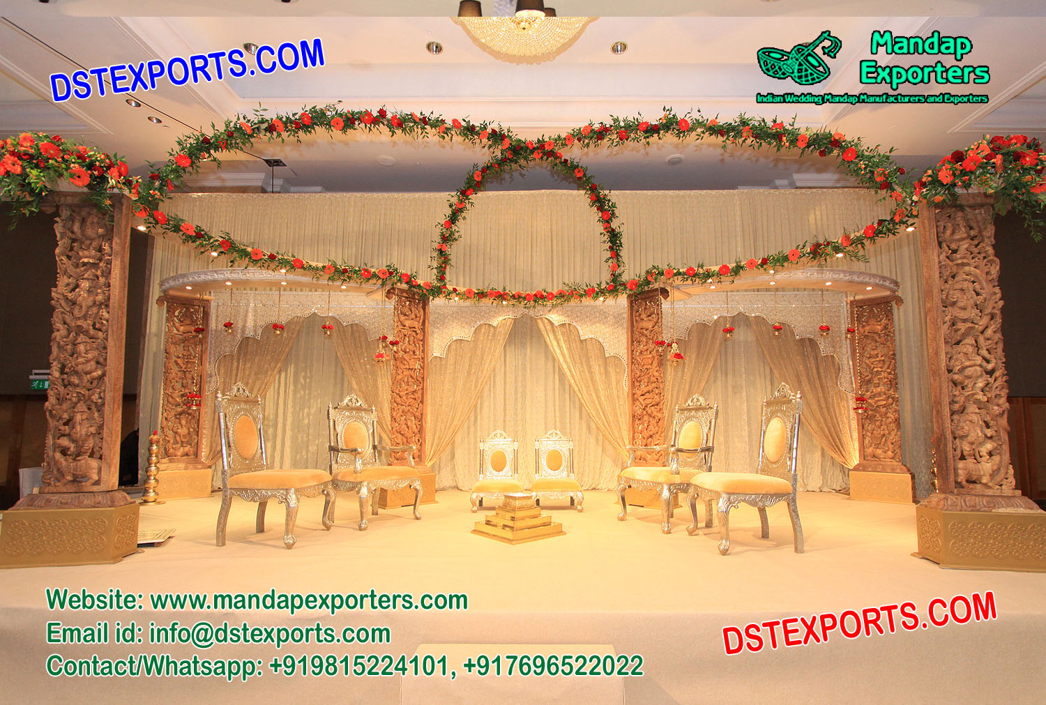 Elegant Hindu Wedding Wooden Stage Decoration Mandap Exporters