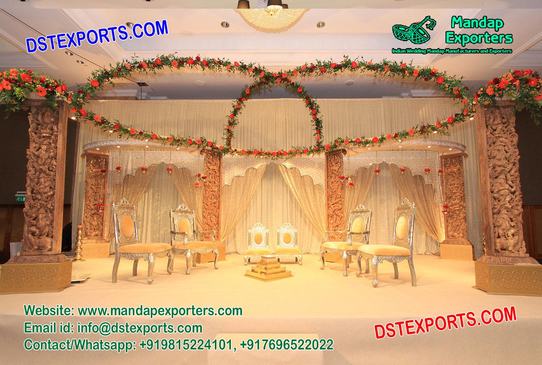 Elegant Hindu Wedding Wooden Stage Decoration – Mandap Exporters
