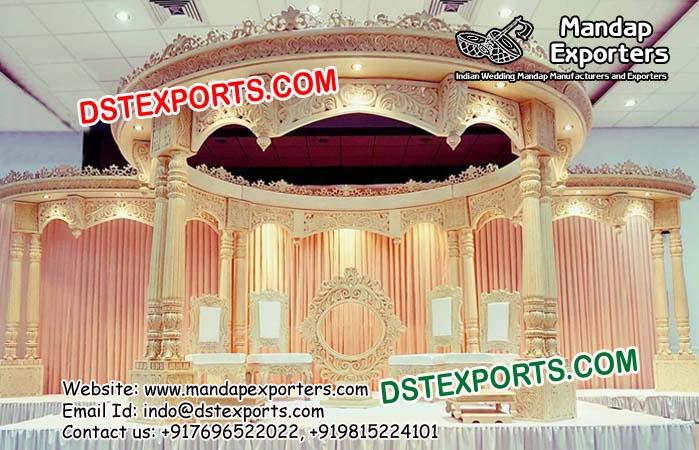 Indian Wedding Double Pillars Wooden Mandap