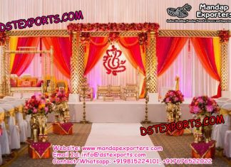 Indian Wedding Golden Jali Mandapam With Swing