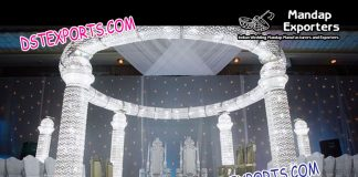 White Theme Crystal Mandap Decoration