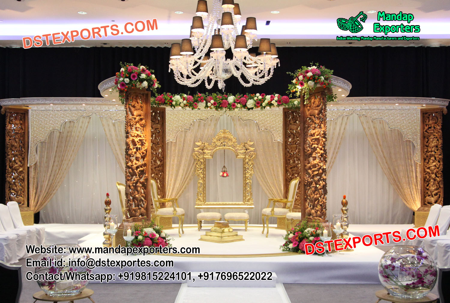 Elegant Wedding Wooden Carved Mandap