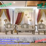Glamorous Silver Carved Wedding Sofa Set