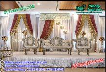 Glamorous Silver Carved Wedding Sofa Set