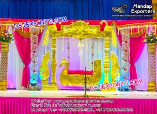 Golden Peacock Theme Swing Set for Stage Decoration