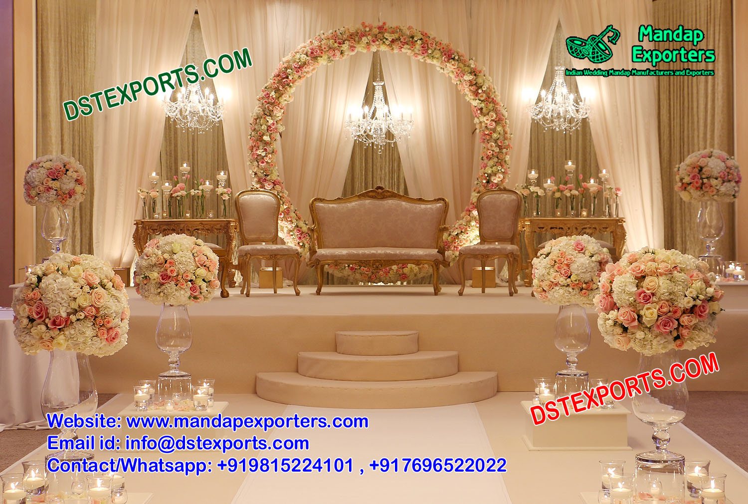 Grand American Wedding Stage Decoration – Mandap Exporters