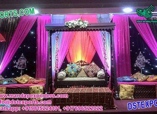 Mehndi Night Stage Set With Swing and Umbrellas
