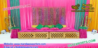 Mehndi Stage Decoration With Moroccan Bed copy