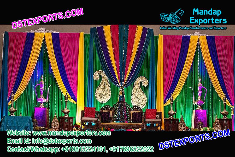Muslim Wedding Heavy Colorful Backdrops