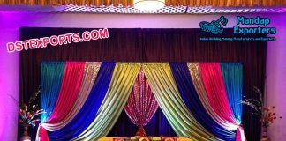Shiny Colorful Backdrops For Mehndi Stage