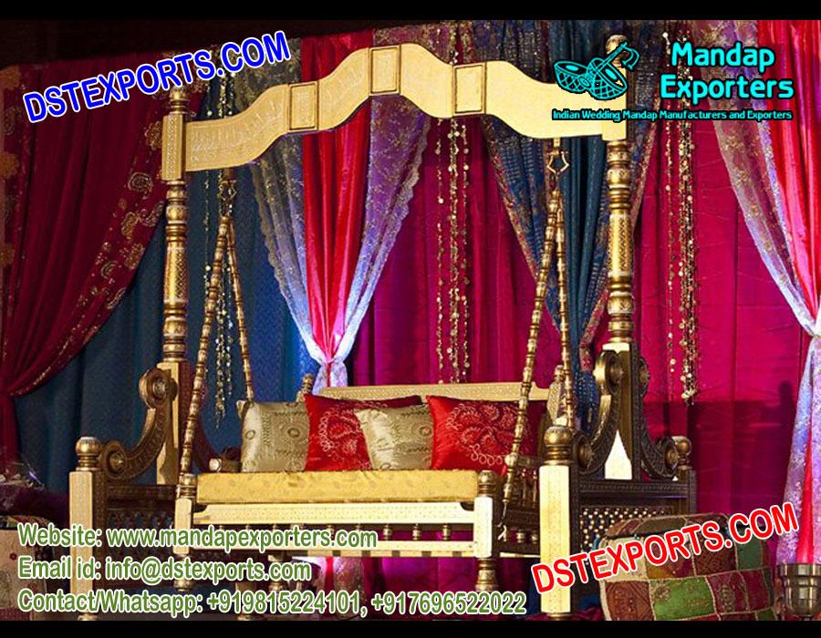 Top Class Mehndi Stage Wooden Swing \u2013 Mandap Exporters